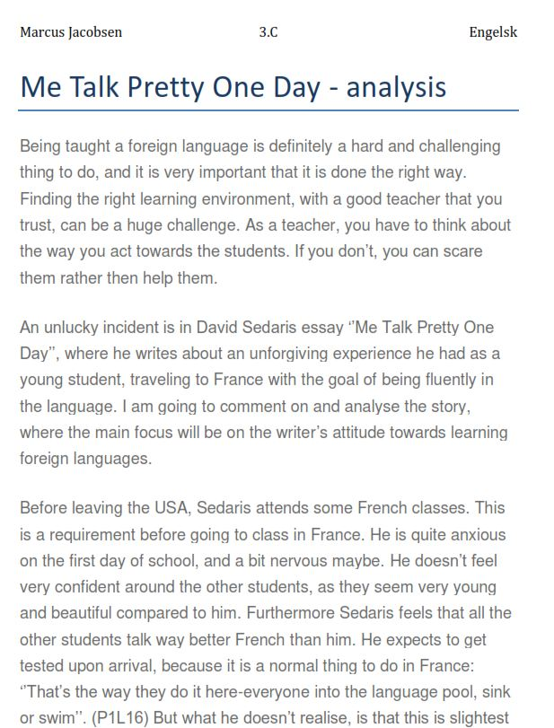 Me Talk Pretty One Day Critical Analysis Essay