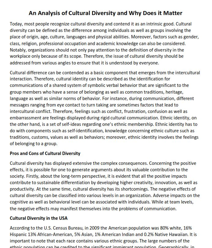 An Analysis of Cultural Diversity and Why does It Matter
