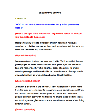 Descriptive Essay Example Person