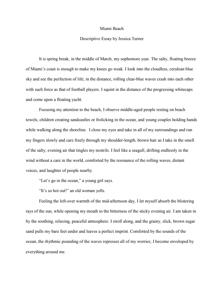 Descriptive Essay on Market