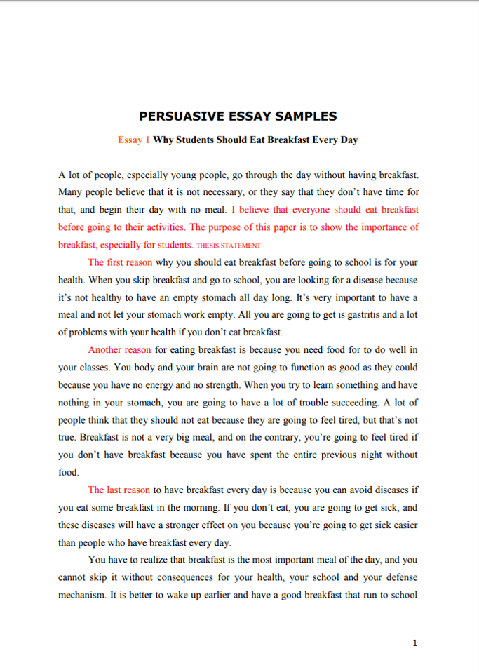 Persuasive essay samples for high school